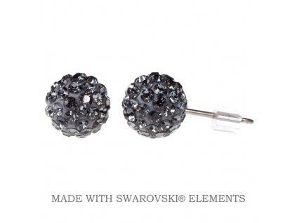 Náušnice čierne guličky DiscoBall s kryštálmi Swarovski® Silver Night