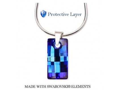 Náhrdelník Swarovski Elements obdĺžnik URBAN Bermuda Blue 20 mm