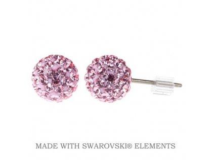 Náušnice ružové guličky DiscoBall s kryštálmi Swarovski® Light Rose