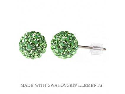 SWAROVSKI-nausnice-zelene-gulicky-napichovacky-puzety-discoball-peridot