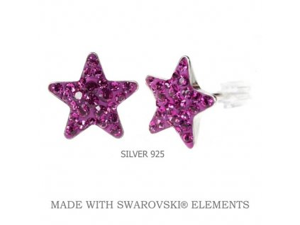 Náušnice Swarovski Elements STAR Fuchsia 10 mm