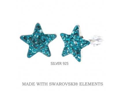 Náušnice hviezdy Swarovski tyrkysové
