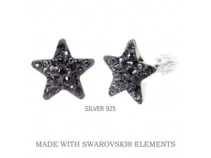 Náušnice Swarovski Elements STAR Silver Night 10 mm