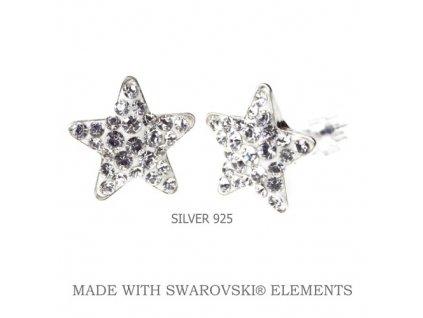 biele swarovski náušnice hviezdy Crystal