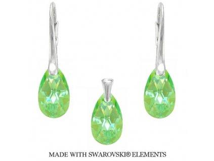 Set PEAR so zelenými kryštálmi Swarovski Peridot 16 mm