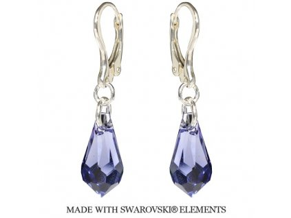 Náušnice Swarovski Elements Teardrop Tanzanite 15 mm