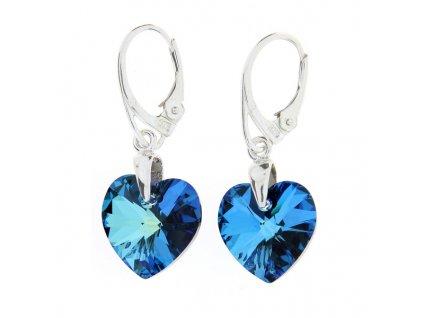 Náušnice srdce Swarovski® Heart modré Bermuda Blue 14 mm