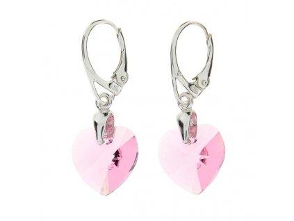 Náušnice srdce Swarovski® Heart ružové Light Rose 14 mm