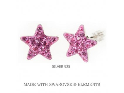 Náušnice Swarovski Elements STAR Rose 10 mm