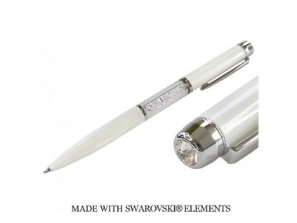 Pero Swarovski Elements biele + Crystal AB