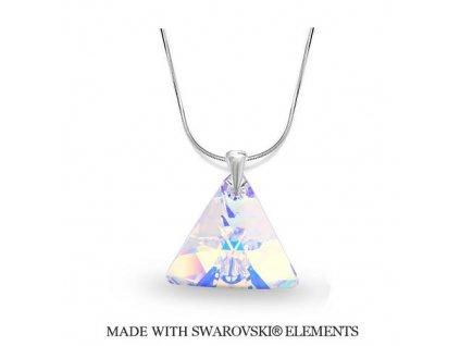 Náhrdelník Swarovski Elements Triangle Xilion AB 16 mm