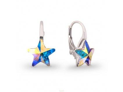 Strieborné náušnice Swarovski Elements STARS AB 10 mm