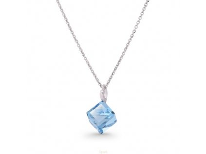 Náhrdelník Swarovski Elements kocka modrá Aquamarine