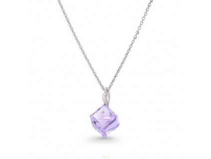 Náhrdelník Swarovski Elements kocka fialová Violet