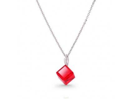 Náhrdelník Swarovski Elements kocka červená Siam