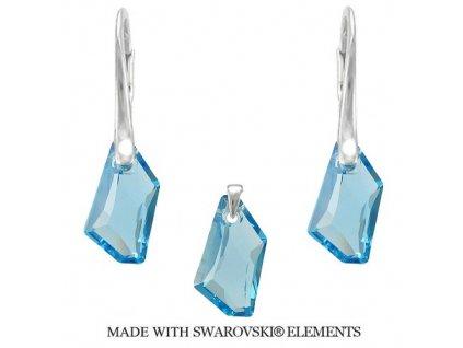 Strieborný set DE-ART s kryštálmi Swarovski® Aquamarine