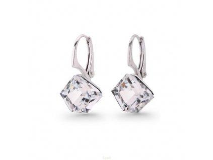 biele Swarovski® náušnice kocky crystal