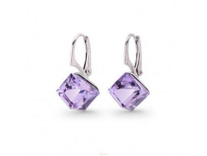 fialové kocky Swarovski® náušnice zo striebra - Violet