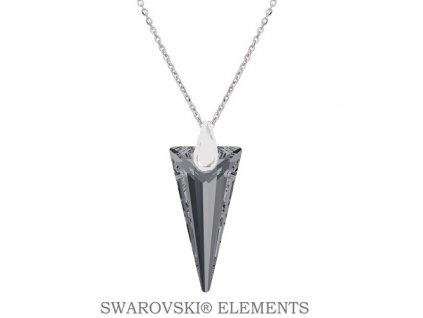 Náhrdelník s kryštálom SPIKE Swarovski® Silver Night 18 mm