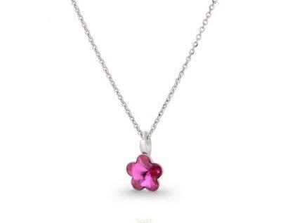 SWAROVSKI-nahrdelnik-kvietok-purpurovy-ruzovy-strieborny-s-retiazkou-flower-fuchsia