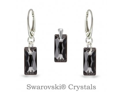 set swarovski baguette čierny silver night