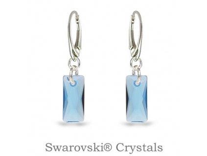 modre swarovski nausnice baguette aquamarine