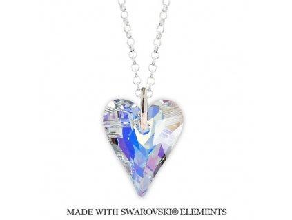 Náhrdelník divoké srdce Swarovski Elements AB 17 mm