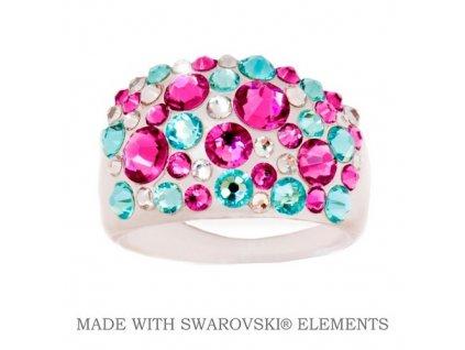 Prsteň Bubble s kryštálmi Swarovski Elements PINK/TURQUOIS