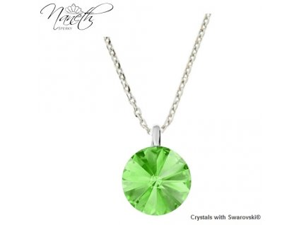 Strieborný náhrdelník Naneth so zeleným kryštálom Swarovski Peridot 12 mm