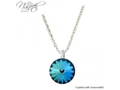 Strieborný náhrdelník Naneth s modrým kryštálom Swarovski Bermuda Blue 12 mm