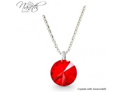 Strieborný náhrdelník Naneth s červeným kryštálom Swarovski Light Siam 12 mm