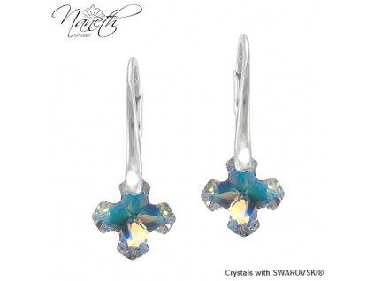 Dúhové náušnice Naneth GREEK CROSS s kryštálmi Swarovski Crystal AB