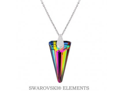 Náhrdelník s kryštálom SPIKE Swarovski® zelený VM 18 mm
