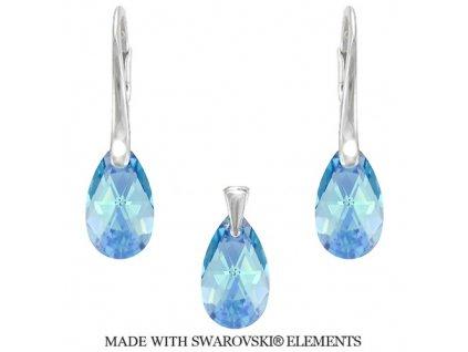 Set PEAR s modrými kryštálmi Swarovski Aquamarine 16 mm