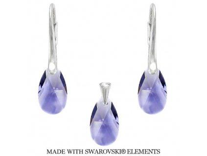 Set PEAR s fialovými kryštálmi Swarovski Tanzanite 16 mm