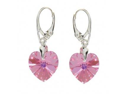 Náušnice srdce Swarovski® Heart ružové Light Rose AB 14 mm