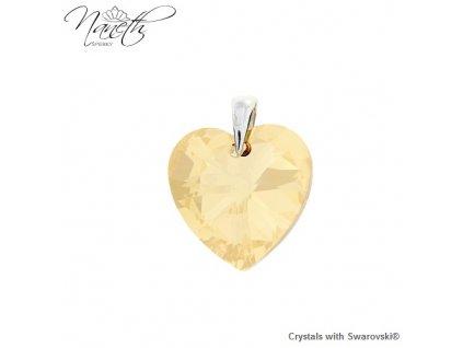 Prívesok zlaté srdce s kryštálom Swarovski Heart Golden Shadow 14 mm