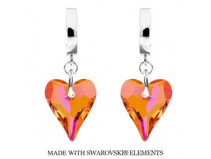 Náušnice s kryštálmi Swarovski Elements WILD HEART Astral Pink 17 mm