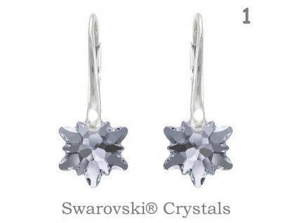 Náušnice s kryštálmi Swarovski Elements EDELWEISS Silver Night