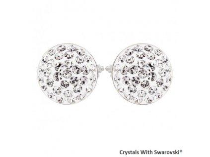 Náušnice s kryštálmi Swarovski® Sparkly Rivoli Crystal biele