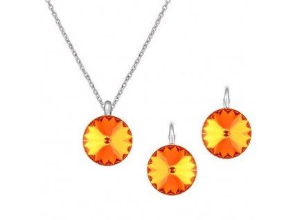 Strieborný set s kryštálmi Swarovski Rivoli Tangerine