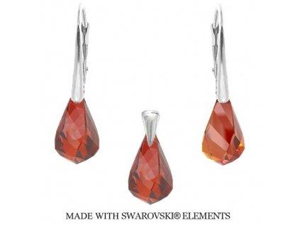 Swarovski Elements set Helix Red Magma 18 mm