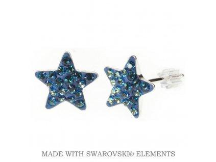 Náušnice Swarovski Elements STAR Bermuda Blue 10 mm