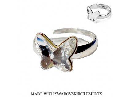 Strieborný prsteň motýlik s kryštálom Swarovski Butterfly Crystal biely