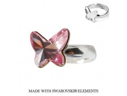 Strieborný prsteň motýlik s kryštálom Swarovski BUTTERFLY Light Rose ružový