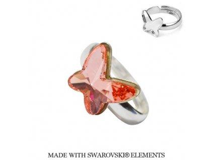 Strieborný prsteň motýlik s kryštálom Swarovski BUTTERFLY Rose Peach broskyňový