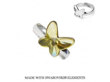 Strieborný prsteň motýlik s kryštálom Swarovski Butterfly Jonquile žltý
