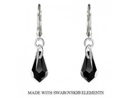 Náušnice Teardrop s kryštálmi Swarovski Elements Jet