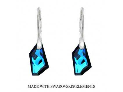 Náušnice DE-ART s kryštálmi Swarovski Elements Bermuda Blue