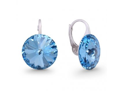 Náušnice Swarovski Elements Rivoli Aquamarine 14 mm